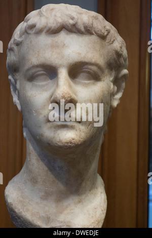 classical style bust of head of Roman Emperor Caligula who ruled AD 37-41;Getty Villa Museum: Santa Monica: Los - Stock Photo