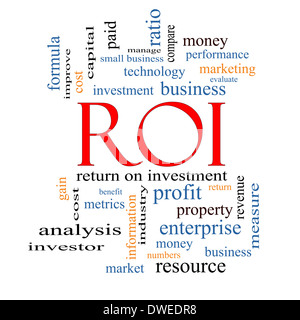 ROI Word Cloud Concept with great terms such as return, investment and more. - Stock Photo