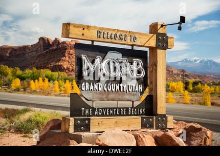 Welcome sign, Moab, Utah USA - Stock Photo