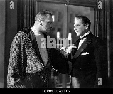 Wallace Beery and John Barrymore, on-set of the Film, 'Grand Hotel' directed by Edmund Goulding, 1932 - Stock Photo