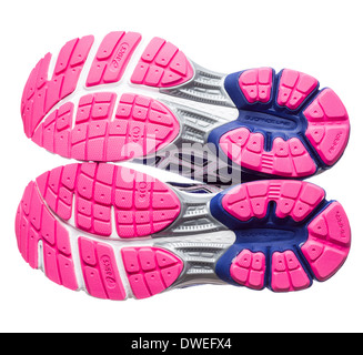 Blue and pink Asics Gel Pulse 5 running shoes - Stock Photo