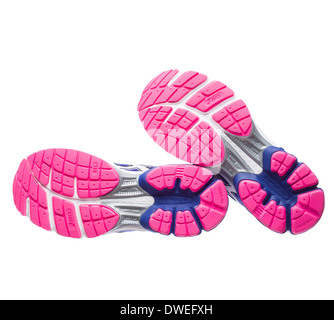 Blue and pink Asics Gel Pulse 5 running shoes soles - Stock Photo