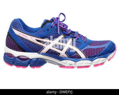 Blue and pink Asics Gel Pulse 5 running shoe cut out isolated on white background - Stock Photo