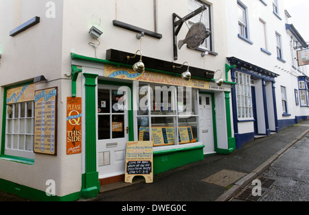 Fish and chips shop in the village of Appledore, Devon, England - Stock Photo