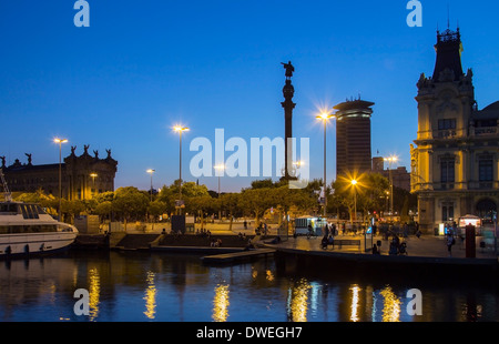 Columbus Monument (Monument a Colom) and the waterfront to Port Vell - Barcelona, Spain. - Stock Photo
