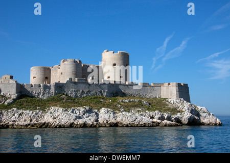 Chateau d'If - Marseille in the Cote d'Azur region of the South of France - Stock Photo