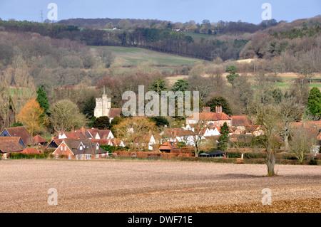 Bucks - Chiltern Hills - sunlit winter landscape - Little Missenden village - backdrop wooded hillsides - subtle - Stock Photo