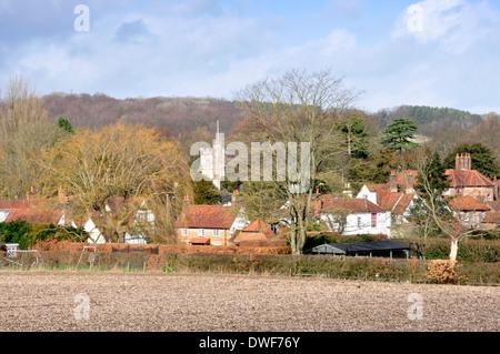 Bucks - Chiltern Hills - Little Missenden village - sunlit winter view - bare trees - fresh ploughed fields - subtle - Stock Photo