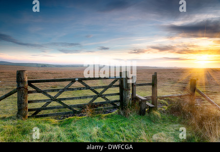 A wooden gate leading on to open moorland on Bodmin Moor in Cornwall - Stock Photo