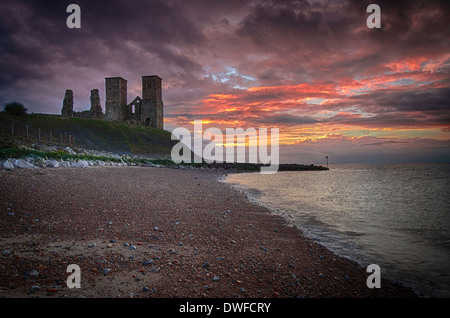 Reculver towers at sunset - Stock Photo