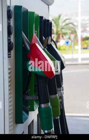 petrol station pumps close up - Stock Photo