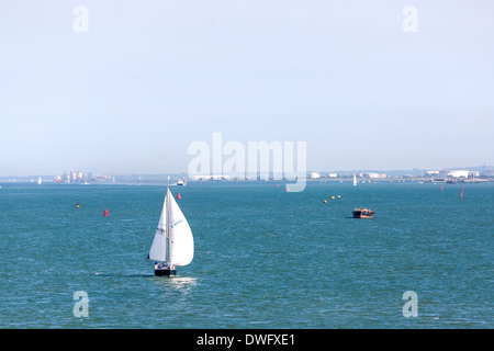 Looking down Southampton waters to the Isle of Wight UK - Stock Photo