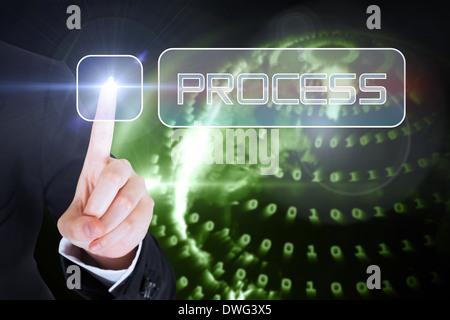 Businesswomans finger touching Process button - Stock Photo