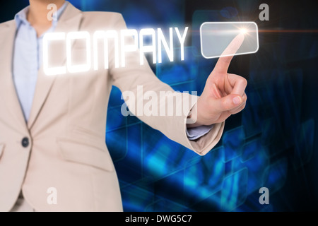 Businesswomans finger touching company button - Stock Photo