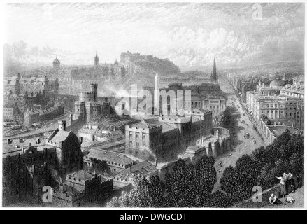 An engraving entitled 'Edinburgh from Calton Hill' scanned at high resolution from a book published in 1876. - Stock Photo