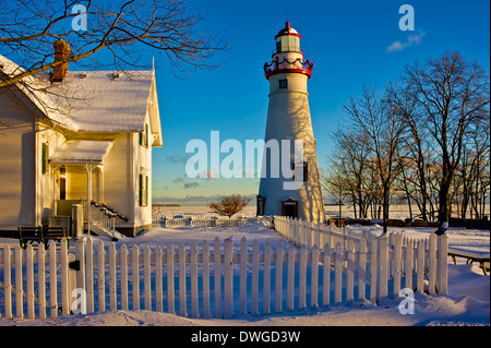 Marblehead Lighthouse in the Winter - Stock Photo