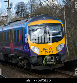 First TransPennine Express, DMU Class 185 Desiro, Number 185 113, approaching Oxenholme Station, Cumbria, England, - Stock Photo