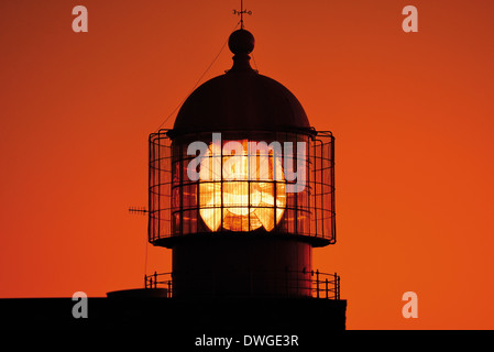 Portugal, Algarve: Detail of the Lighthouse of tCape Sao Vicente - Stock Photo