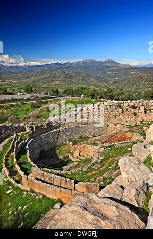 The Grave Circle A in the Acropolis of Ancient Mycenae, Argolis (Argolida), Peloponnese, Greece - Stock Photo