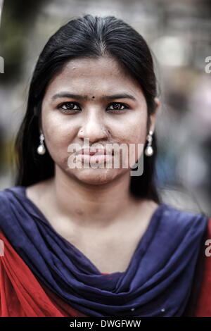 March 7, 2014 - Dhaka, Bangladesh - A survivor of an acid attack attends a human chain to protest against acid violence - Stock Photo