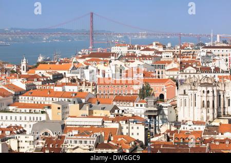 Ponte 25 de Abril bridge, Lisbon - Stock Photo
