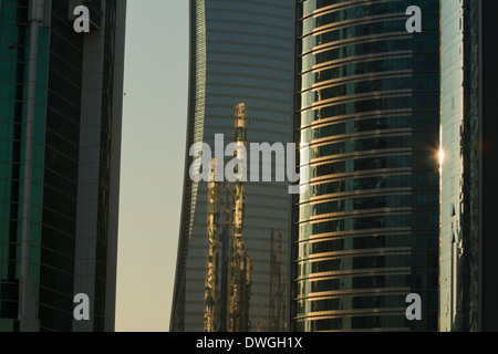 Qatar Doha Skyscrapers Modern Glass City Towers sun Reflections - Stock Photo
