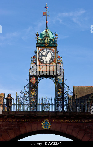 The Victorian Eastgate Clock in the city centre at Chester in the county of Cheshire in North West England - Stock Photo