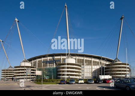 City of Manchester Stadium in Manchester in northwest England - Stock Photo