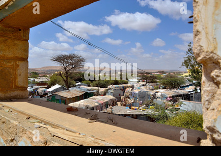 View through destroyed window, IDP camp. State House, Hargeisa, Somaliland - Stock Photo