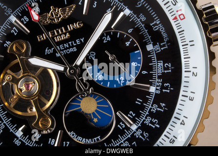 Close-up of an expensive Swiss made Breitling chronograph wristwatch. - Stock Photo