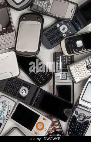 A selection of old mobile phones - cellphones - Stock Photo