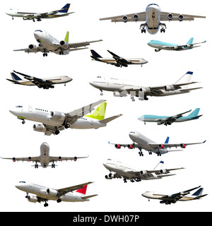 Collection with many planes on a clean white background. 5000 x 5000 pixels - Stock Photo
