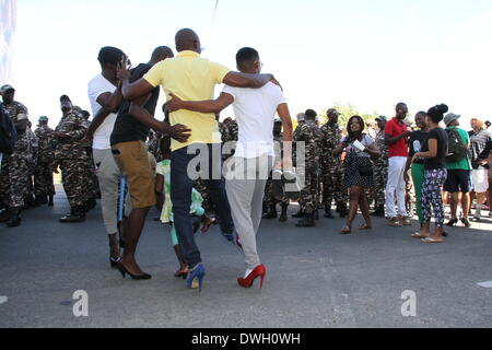 Windhoek, Namibia. 8th March 2014. A man wearing high ...