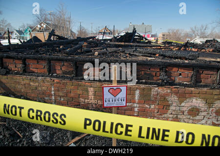 Detroit, Michigan USA - Arson is suspected as fire destroyed the Party Animal House in the Heidelberg Project. Artist - Stock Photo