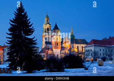 The Royal Cathedral on Wawel Hill within the grounds of Wawel Castle in Kracow in Poland - Stock Photo