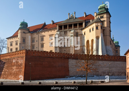 The Royal Castle on Wawel Hill in the city of Krakow in Poland. - Stock Photo