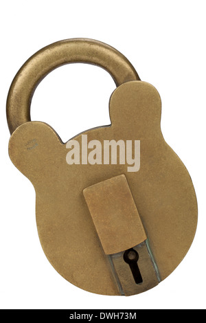 A large brass padlock - Isolated - Stock Photo