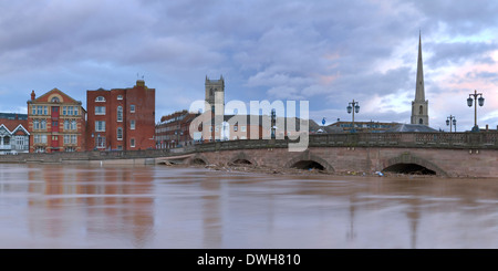 A panoramic photograph of the River Severn flooding over Tybridge Street and the bridge in Worcester. - Stock Photo