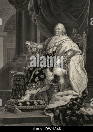 Louis XVIII, known as 'the Desired', was a monarch of the House of Bourbon who ruled as King of France and Navarre - Stock Photo