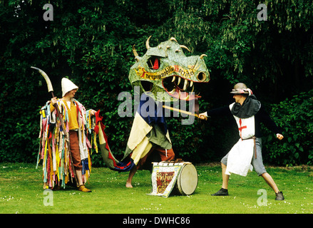 Medieval Miracle Play, St. George and Dragon, plays allegory, theatre, theater, entertainment, historical re-enactment - Stock Photo