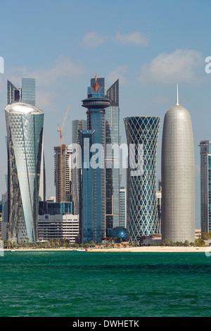 Doha, Qatar, new skyline of the West Bay central financial district - Stock Photo