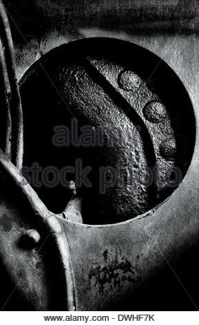 Fragmented detail of a locomotive engine part, England, United Kingdom. - Stock Photo