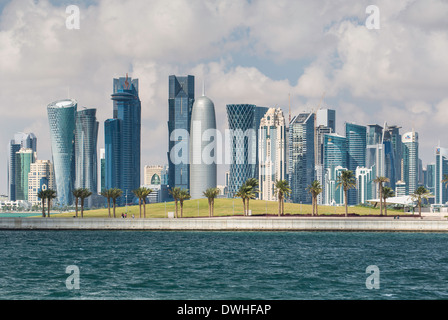 Doha, Qatar, new skyline of West Bay central financial district - Stock Photo