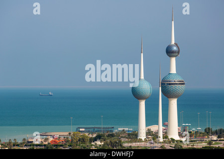 The Kuwait Towers, Arabian Gulf Street, Kuwait City, Kuwait, Persian Gulf, Arabia - Stock Photo