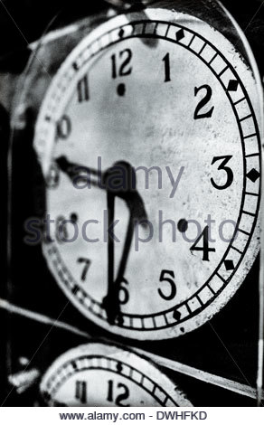 Detail of railway locomotive clocks, England, United Kingdom. - Stock Photo