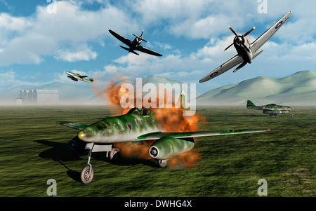 American P.47 Thunderbolts Attacking A German ME 262 Airfield. - Stock Photo