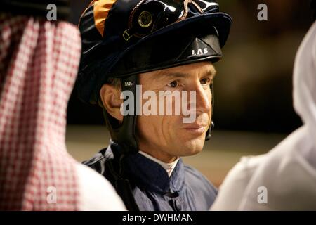 Dubai, UAE. 8th March, 2014. Jockey Andre De Vries was riding in race 8, the Jebel Hatta for owner Sheikh Mohammed - Stock Photo