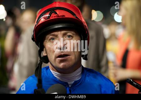 Dubai, UAE. 8th March, 2014. Kieren Fallon is interviewed after riding Excellent Result to victory in the Dubai - Stock Photo