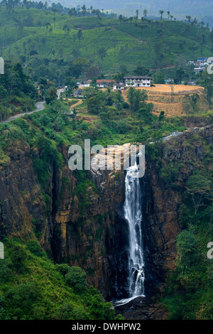 The impressive Devon Falls near Talawakele in Sri Lanka - Stock Photo