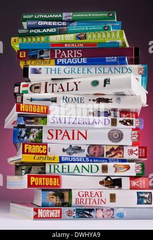 European travel guides to Europe's greatest destinations. - Stock Photo